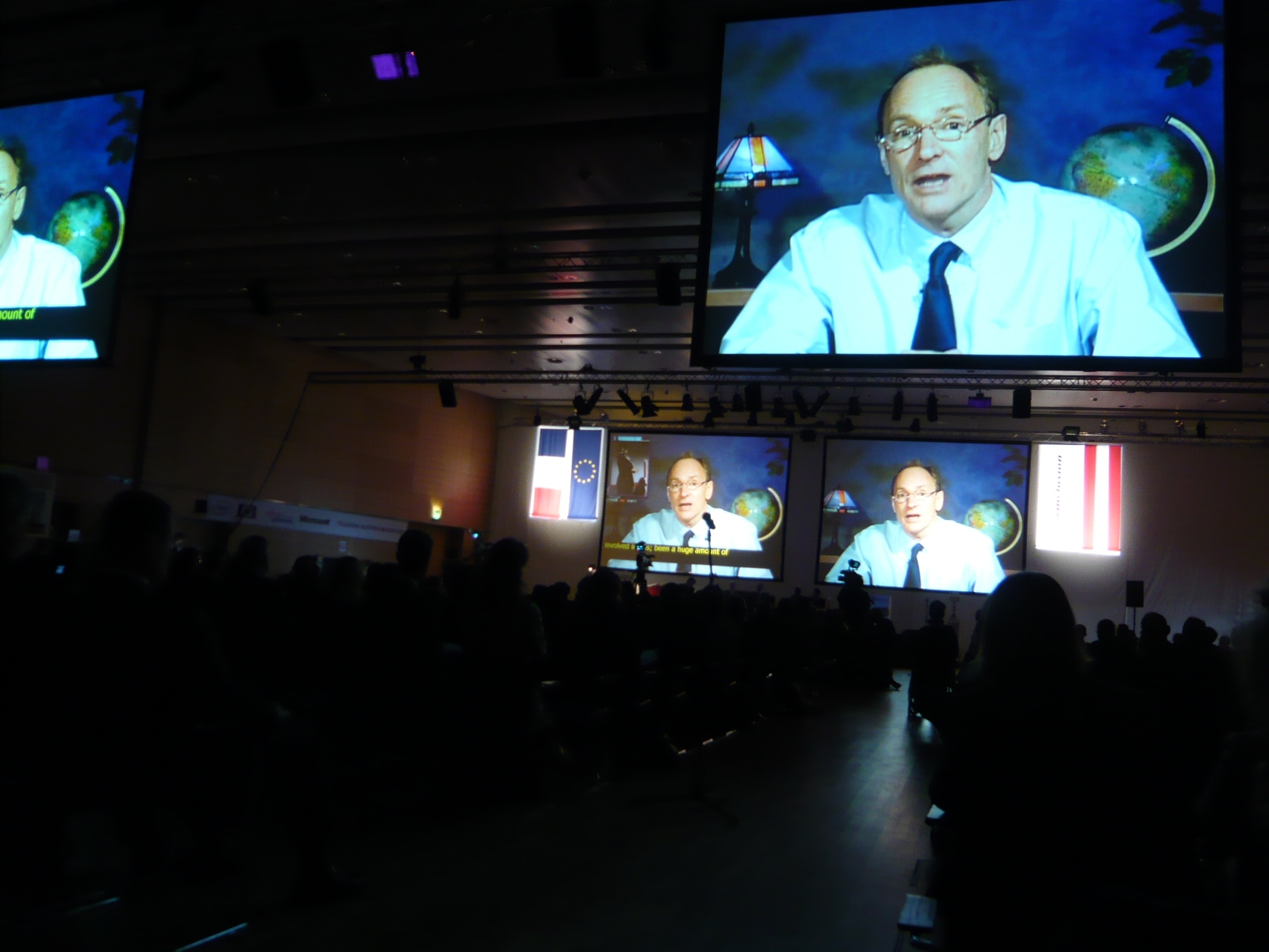 Sir Tim Berners Lee addressing the audience in a videomessage